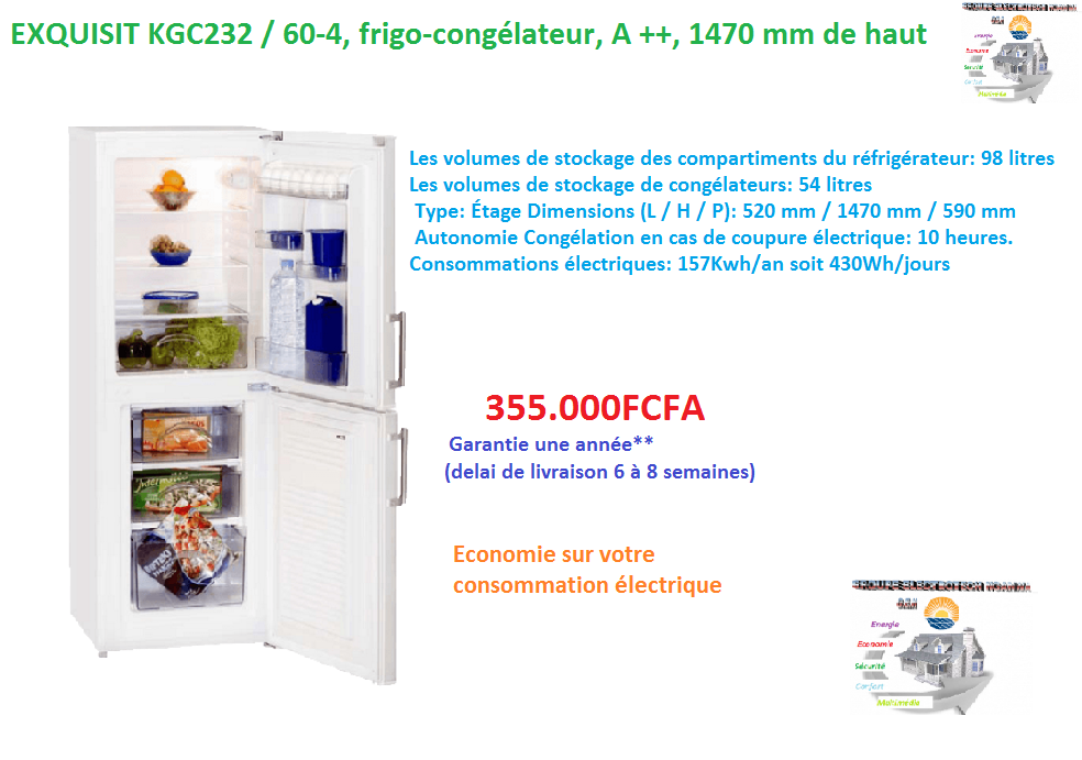 Frigo congelateur exquisit